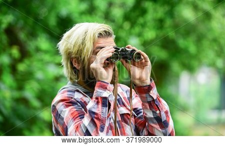 Traveling Around The World. Bearded Man Look Through Binoculars. Hipster With Retro Binoculars. Expl