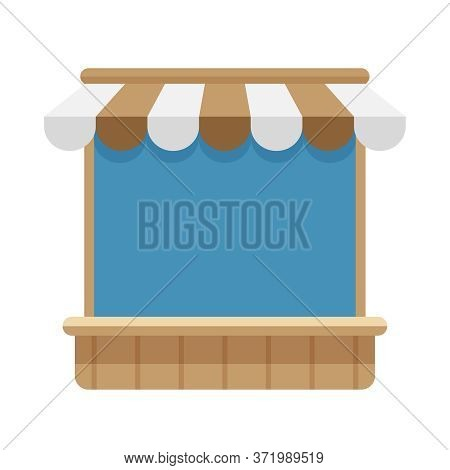 Icon Storefront Shop Brown Awning Roof, Mini Market Store Shop Wooden With Awnings, Symbol Shop Onli