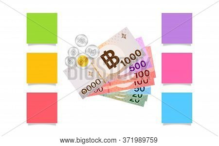 Thai Banknote Money On Paper Works, Money And Paper Sheets For Notes, Copy Space, Paper Money Thai B