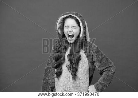 Time To Sleep. Comfortable Soft Pajamas. Good Morning. Girl In Bunny Pajamas. Child In Rabbit Kiguru
