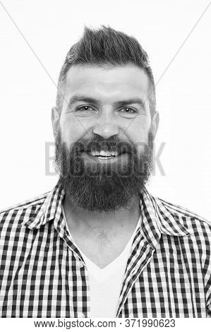 Emotional Intellect. Happy Man On White Background. Bearded Man Smiling. Hipster With Mustache And B