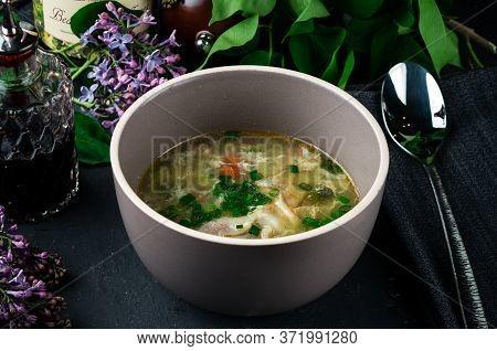 Detox Crock Pot Vegetable Soup, Vegetable Soup On A Dark Background