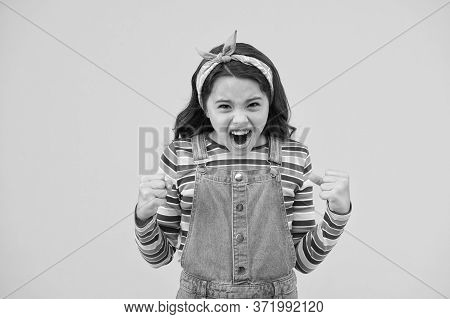 Child Development And Teen Problems. Little Child Yellow Background. Old Fashioned Kid Shouting. Bea