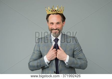 Treating Himself As Royalty. Big Boss Grey Background. Selfish Boss Wear Luxury Crown. Narcissistic