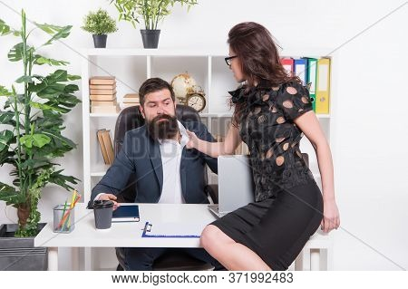Boss Employee Romance. Romantic Relationship With Boss. Sexy Woman Flirt With Bearded Man. Romantic