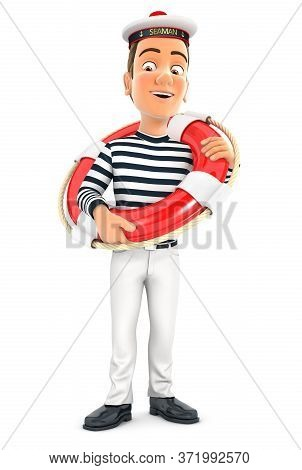 3d Seaman Standing With Life Buoy, Illustration With Isolated White Background