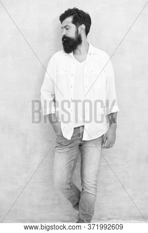 Style Tips For Men. Handsome Attractive Hipster. Fashion Male Model. Mature Hipster With Beard. Brut