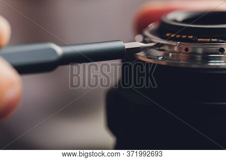 Precision Prime Optical Dslr Lens Service, Adjustment And Alignment. Camera Lens Repair Set In Photo