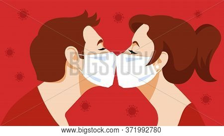 Kiss. Couple Kisses In A Medical Mask. Love And Tenderness In Pandemic Mode. Young Guy, Young Beauti