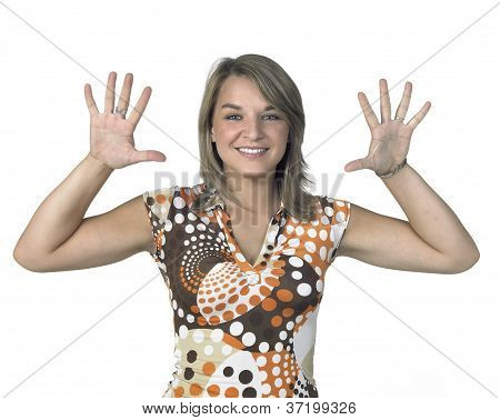 Smiling Blond Girl Showing Two Open Hands
