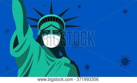 New York Coronavirus Pandemic. Statue Of Liberty In Medical Mask.
