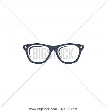 Glasses Icon Black Sign Isolated On White Background In Flat Simple Style