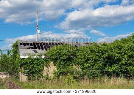 An Abandoned Building With Huge Hole In The Roof And Overgrown Greenery.