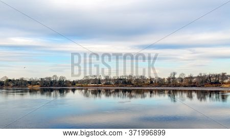 A Panoramic View Of Rancocas Creek In Riverside New Jersey.