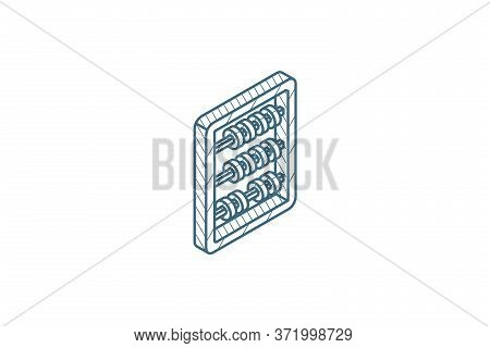 Abacus, School Education, Mathematics Or Arithmetic Isometric Icon. 3d Line Art Technical Drawing. E