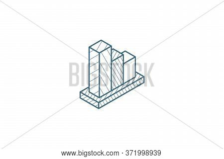 Graph Chart Decline, Fall Market Stock Bar Isometric Icon. 3d Line Art Technical Drawing. Editable S