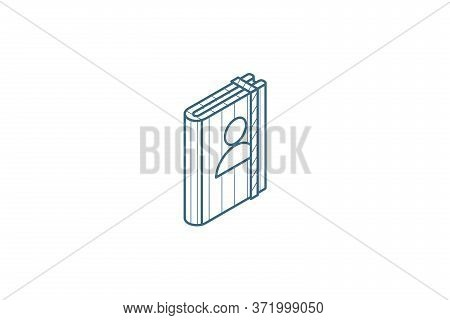 Contacts, Address Book Isometric Icon. 3d Line Art Technical Drawing. Editable Stroke Vector