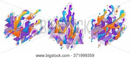 Abstract Colorful Lava Fluids With Geometric Lines Vector Illustrations Set, Bubble Gradients Shapes