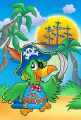 Pirate parrot with boat - color illustration. poster