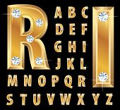 vector illustration of the golden alphabet with diamonds poster