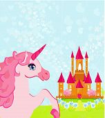 Fairytale landscape with pink magic castle and unicorn poster