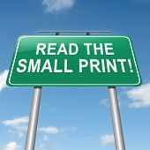 Illustration depicting a roadsign with a 'read the small print' concept. Sky background. poster