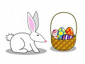 easter bunny with 4 easter eggs in a basket poster