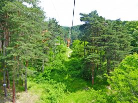 Chairlift At Sopot In Bulgaria In The Summer