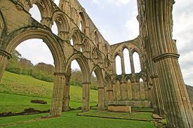 Ruined Walls Of Rivaulx Abbey In Yorkshire