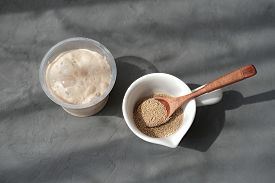 Nutritional Yeast In Flakes And In Active Form. Sour Dough Starter In A Container. Making Bread At H