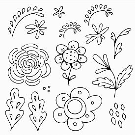 Set Of Flowers And Leaf Elements In Scandinavian Style. Hand Drawn Doodle Black Outline Clip Arts Fo