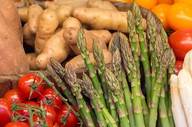 Delicious Fresh Market Vegetables Asparaguses Tomatoes Potatoes. Offer Mix Box Of Ripe Organic Veget