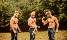 Sexy Men With Muscular Torso. Brutal Macho Style. Strong Men Are Sexy. Showing Abs. Full Of Energy.