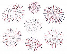 Set Of Vector Firework Design Isolated On White Background. Fourth Of July Independence Day Of The U