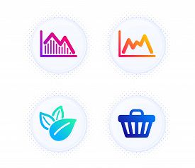 Organic Product, Investment Graph And Diagram Icons Simple Set. Button With Halftone Dots. Shop Cart