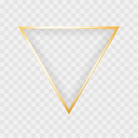 Gold Shiny Glowing Triangle Frame Isolated On Transparent Background. Luxury Realistic Golden Banner