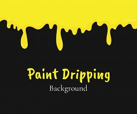 Paint Dripping, Yellow Liquid Or Melted Cream Drips. Drip Splash Border, Trickle Leak Vector Illustr