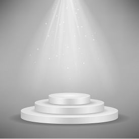 Realistic White Round Podium, Pedestal Or Platform Illuminated By Spotlights On Gray Background. Sta
