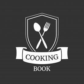 Cooking Book Or Food Studio Logo. Kitchen Tools. Shield With Crossed Spoon And Fork. Original Restau