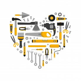 Flat Set Of Working Tools In Heart Shape. Icons Design Elements. Construction And Home Repair Instru