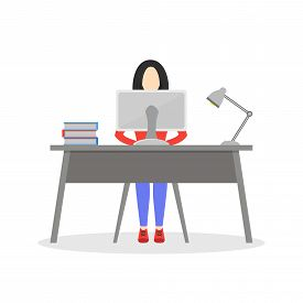 Girl Sitting At Desk With Computer, Lamp And Books. Business Woman Working In Office. Employee Worki