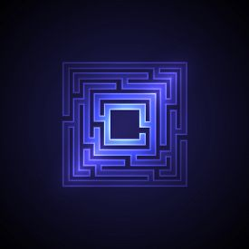 Abstract Maze Background With Glowing Light. Labyrinths In Shape Of Square. Modern Design Of Mystery