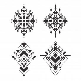 Abstract Geometric Aztec Patterns Set