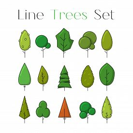 Colorful Line Design Art Tree Icons Set. Collection Of Nature Forest Or Park Elements. Flat Natural