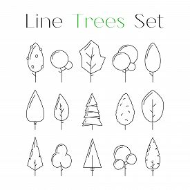Cute Line Design Art Tree Icons Set. Collection Of Nature Forest Or Park Elements. Flat Natural Sign