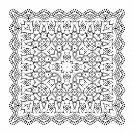 Square Pattern. Symmetric Zentangle. Black Vector Illustration. Abstract Doodle Background. Good For