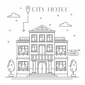 Hotel Or Hostel Building Facade Flat Line Design, Front View. City Architecture Infografic. Tourist