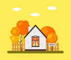Autumn Landscape With Wooden House Exterior, Orange Deciduous Leaves And Tree. Building For Sale. Co