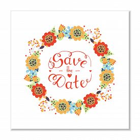 Save The Date Hand Lettering Phrase. Gentle Hand Drawn Phrase. Vector Script Illustration With Heart