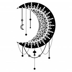 Hand Drawn Moon With Flowers, Mandalas And Paisley